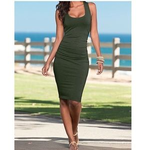 Express Ruched Olive green Tank Dress